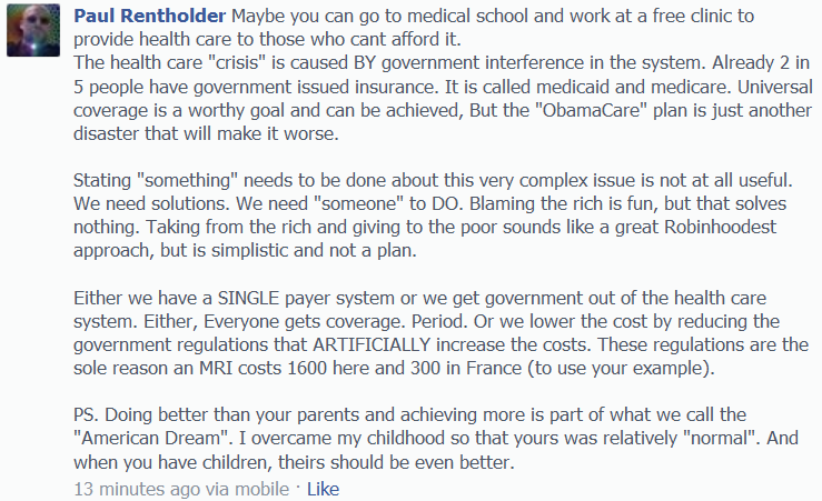 Comment on Son's Facebook regarding ObamaCare