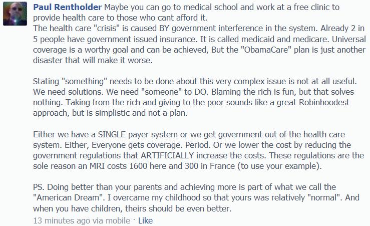 Comment on Son's Facebook regarding ObamaCare